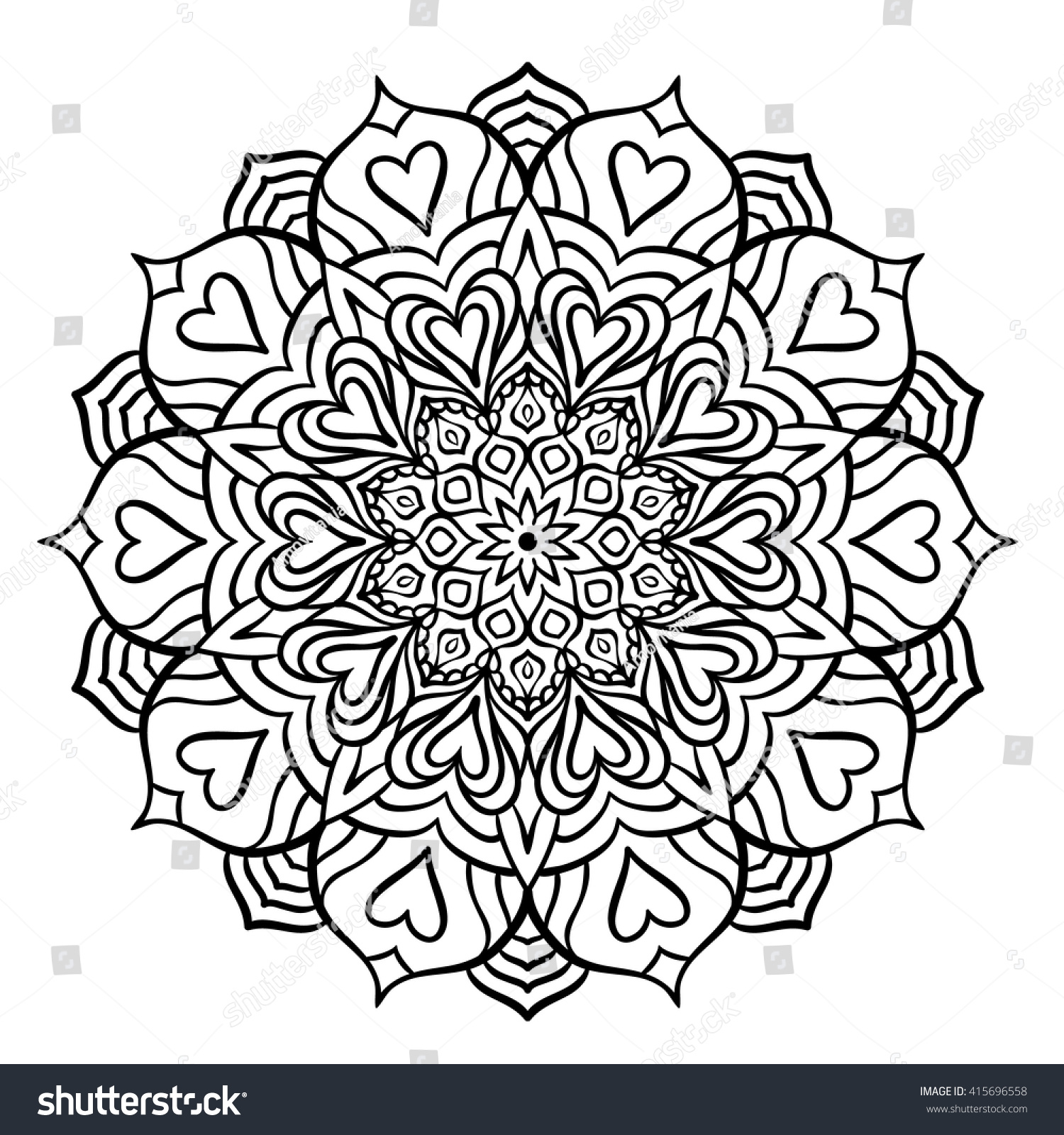 Outline Mandala For Coloring Book Decorative Round Ornament Anti Stress Therapy Pattern Weave
