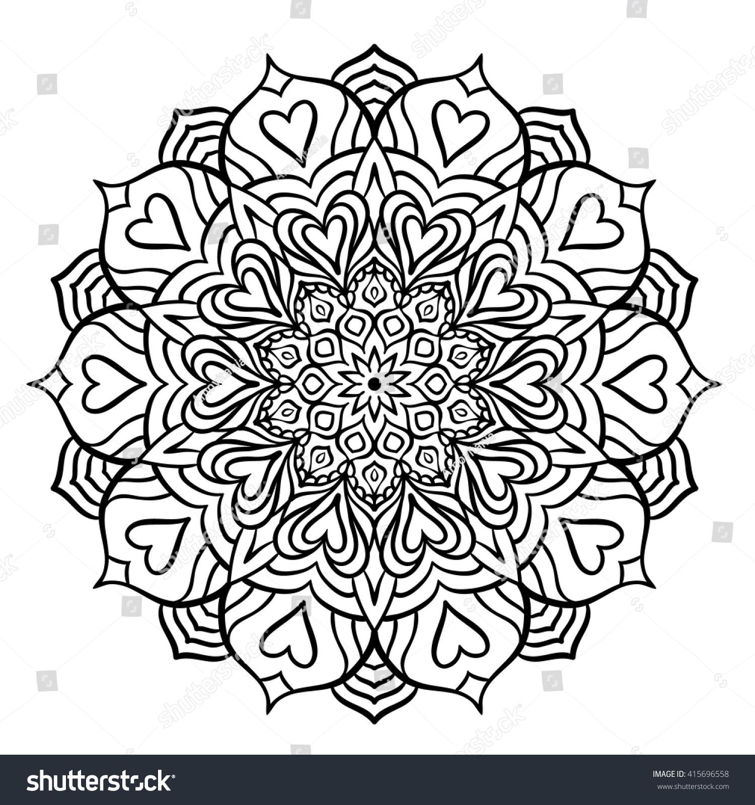 Outline Mandala Coloring Book Decorative Round Stock ...