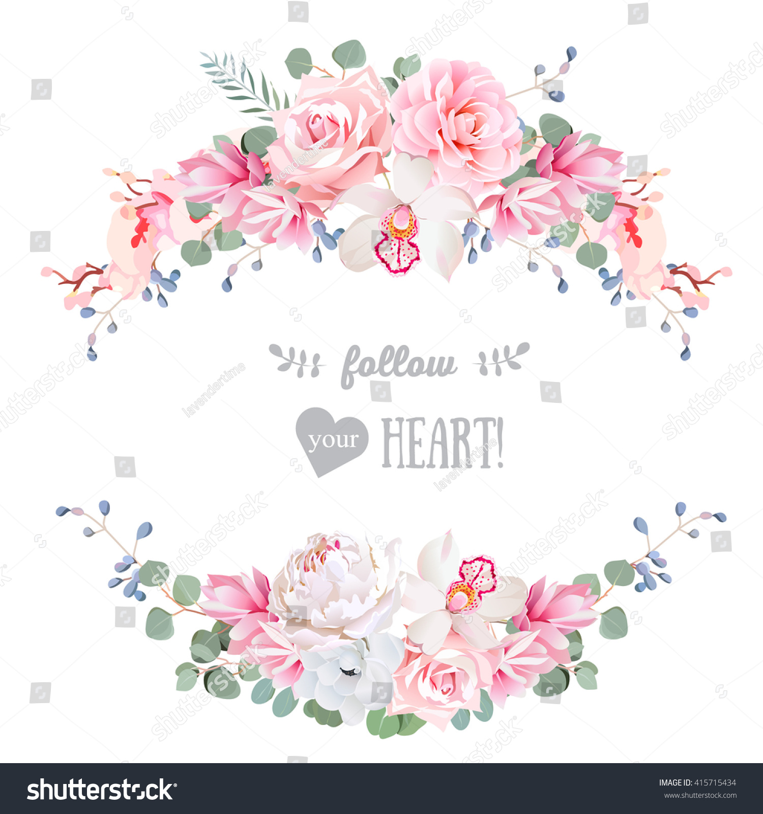 Cute wedding floral vector design frame stock vector 415715434 cute wedding floral vector design frame rose peony orchid anemone pink mightylinksfo Choice Image