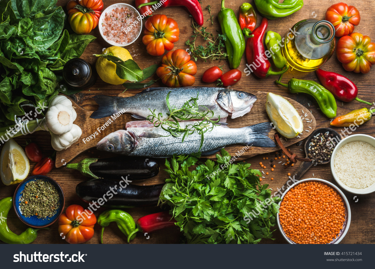 Raw uncooked seabass fish vegetables grains stock photo for What vegetables go with fish