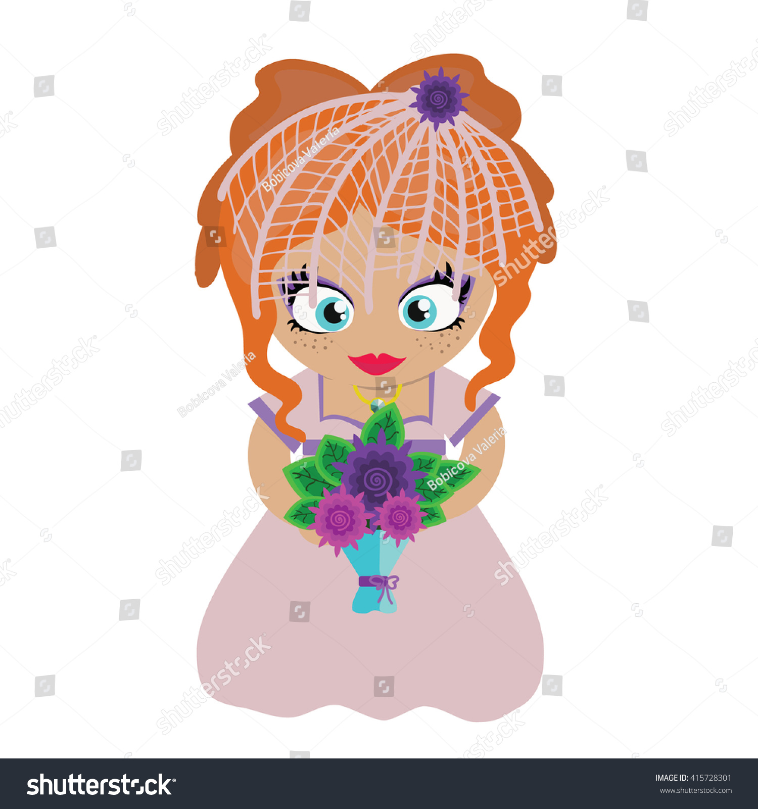 Bride Flower Bouquet Cartoon Style Stock Photo (Photo, Vector ...