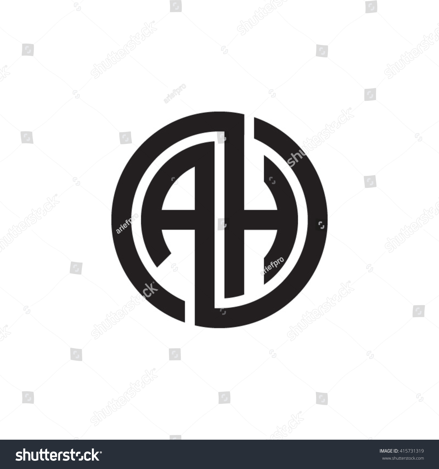 Ah Initial Letters Linked Circle Monogram Stock Vector Royalty Free 415731319