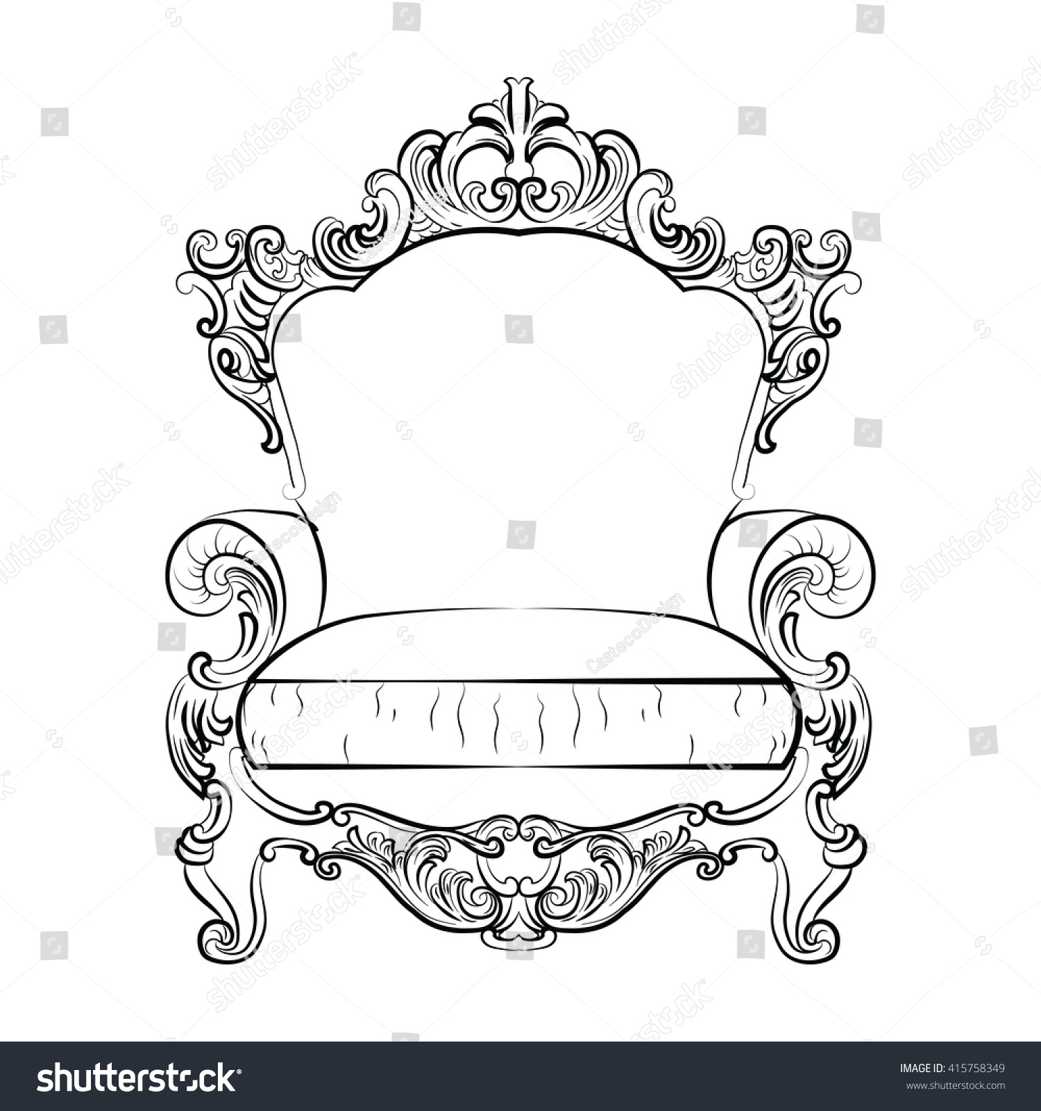 Rococo furniture sketch - Glamorous Rich Baroque Rococo Armchair Set French Luxury Rich Carved Ornaments Furniture Vector Victorian