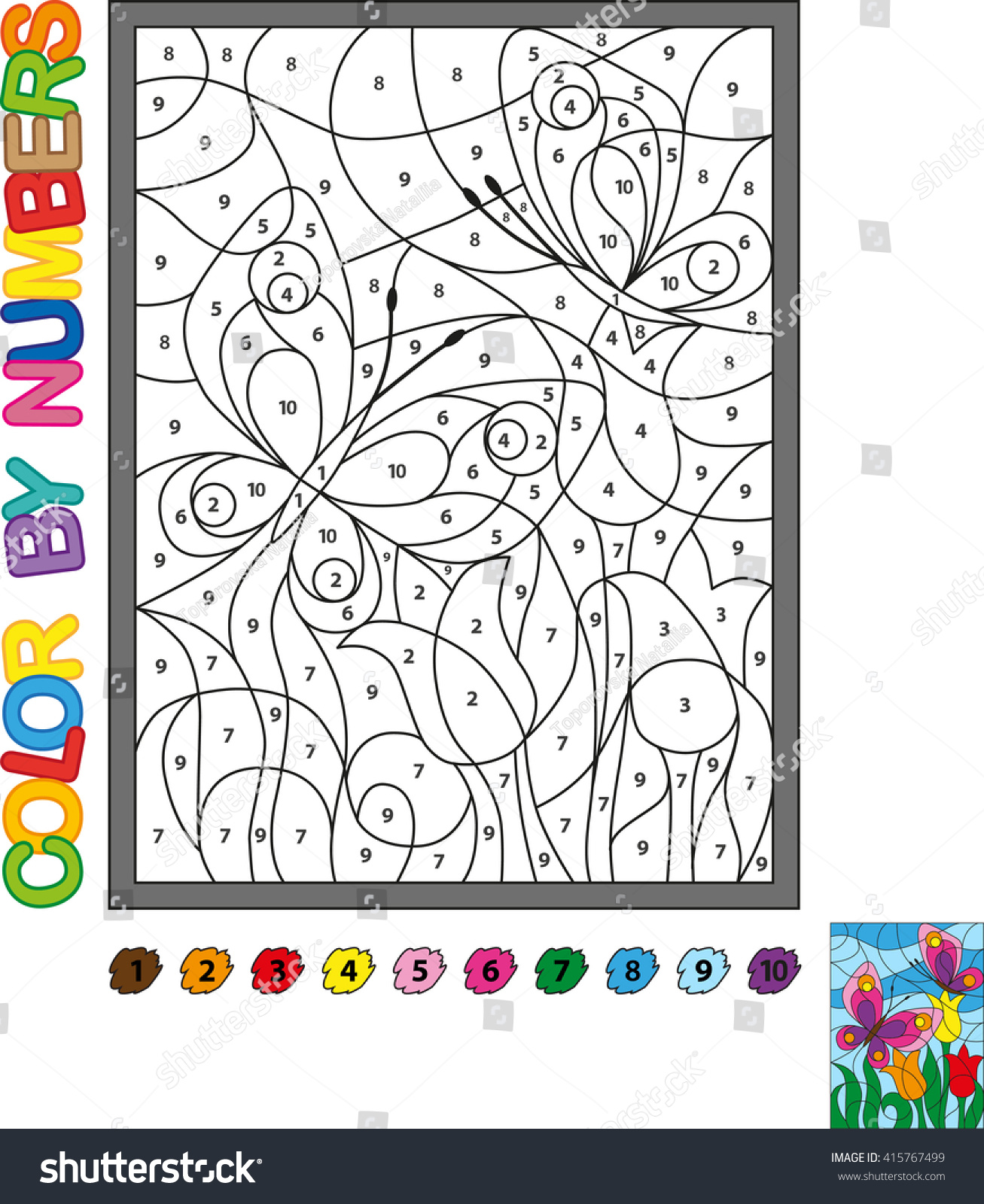 Coloring Book Color By Numbers Bright Butterfly