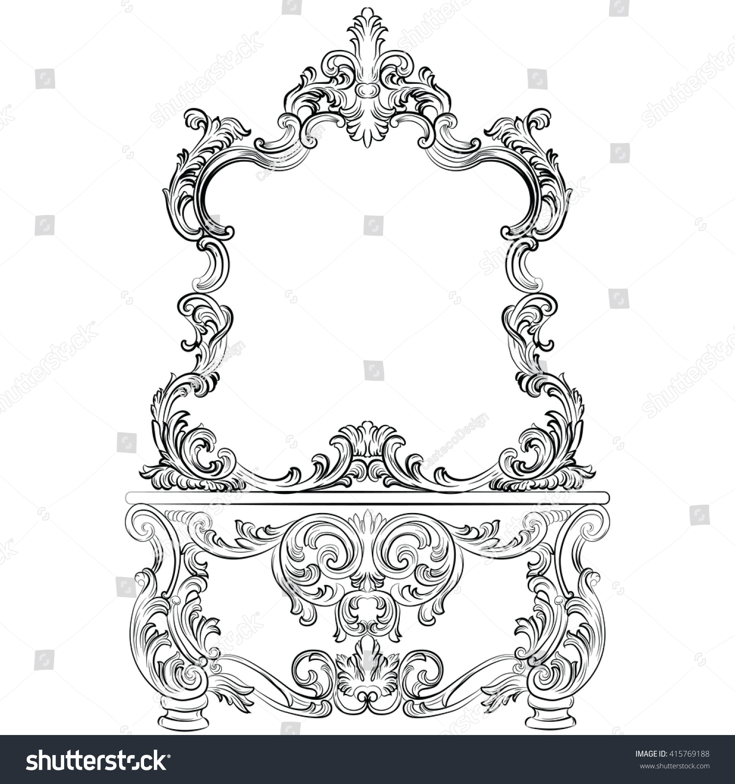 Rococo Furniture Sketch - Glamorous fabulous baroque rococo console table and mirror frame set french luxury rich carved ornaments