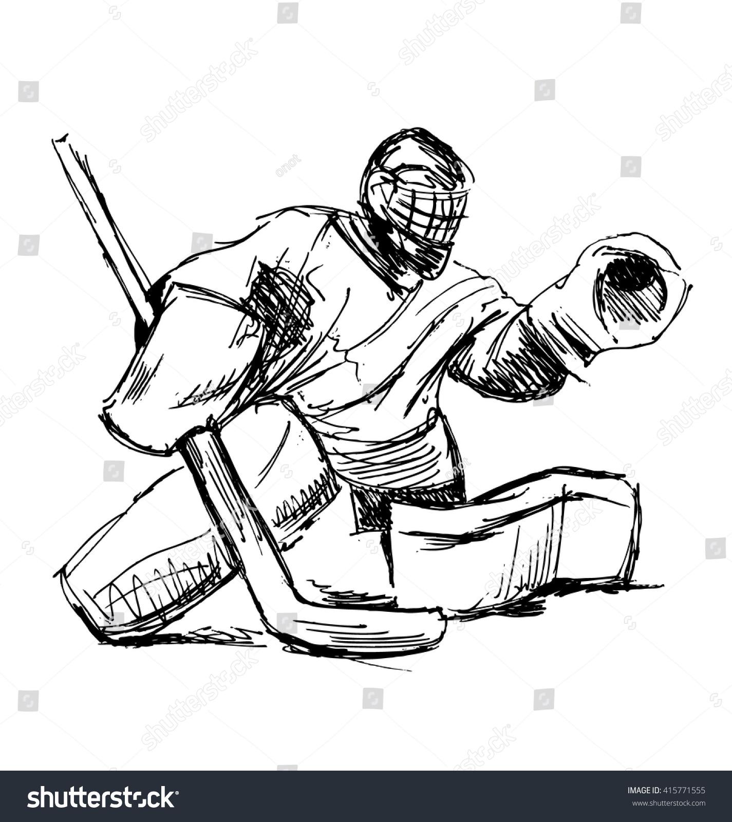 Hand Sketch Hockey Goalie Vector Illustration Stock Vector ...