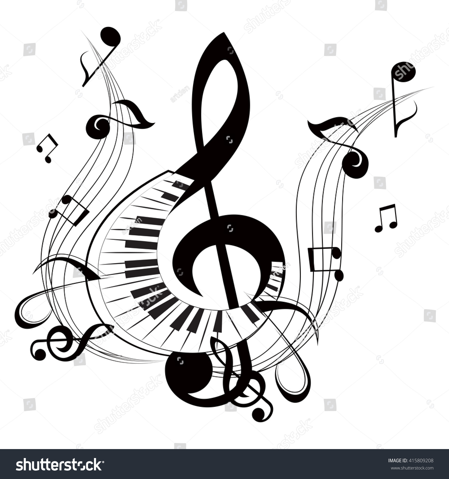 Creative Flat Designs Music Musical Symbols Stock Vector 2018