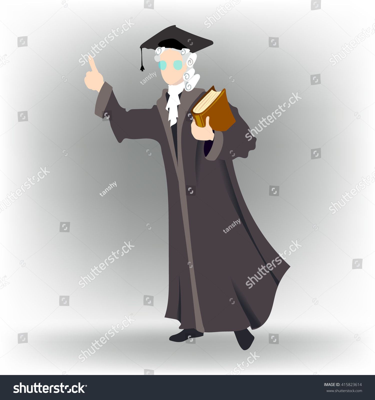 Lawyer Man Dressed Judge Book Wig Stock Vector (Royalty Free ...