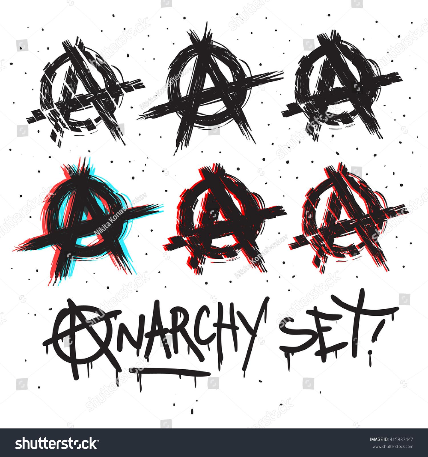 Anarchy symbols set drawing vector illustration stock vector anarchy symbols set drawing vector illustration buycottarizona