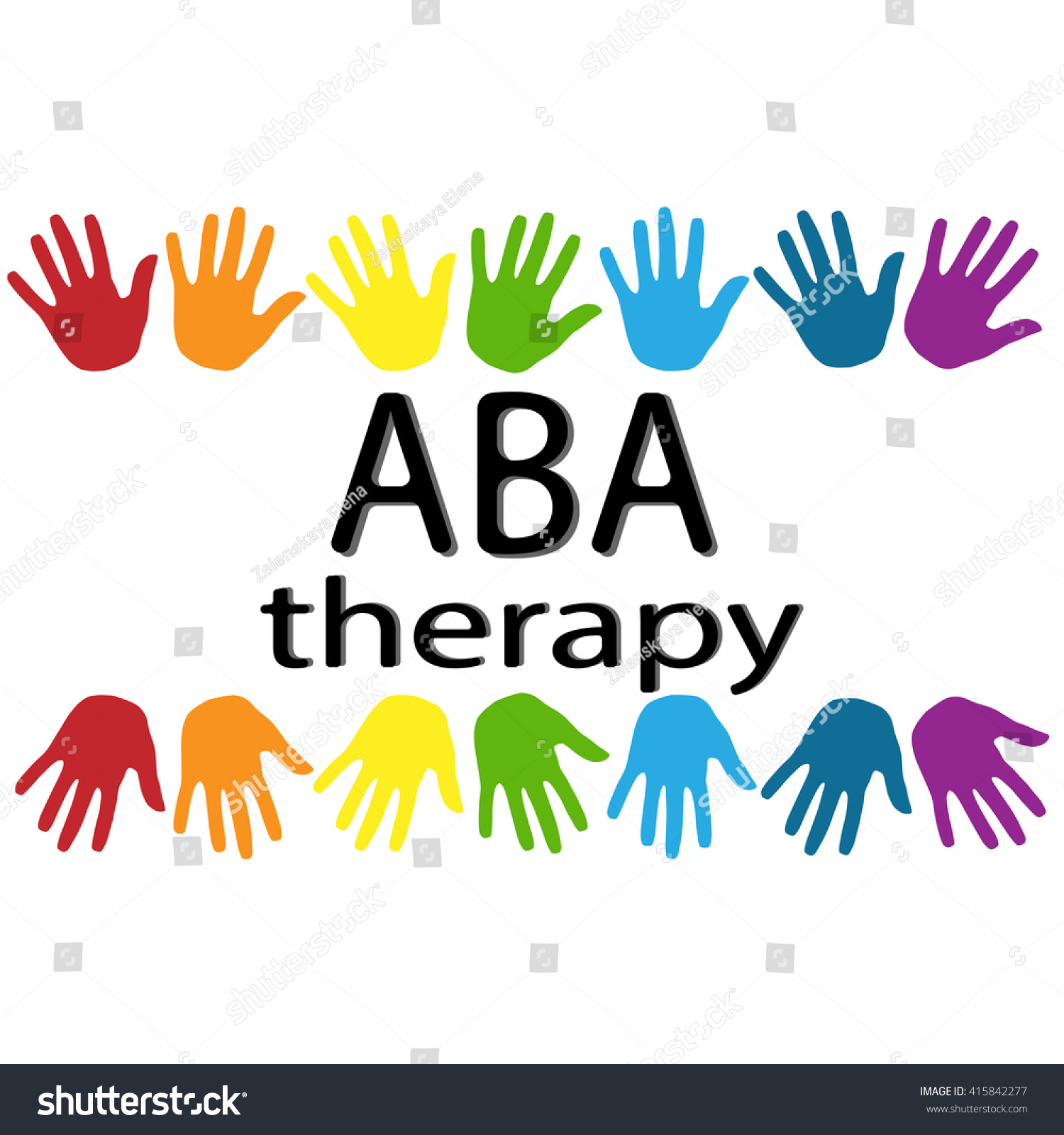 Aba Therapy Black Letters Colorful Palm Stock Vector