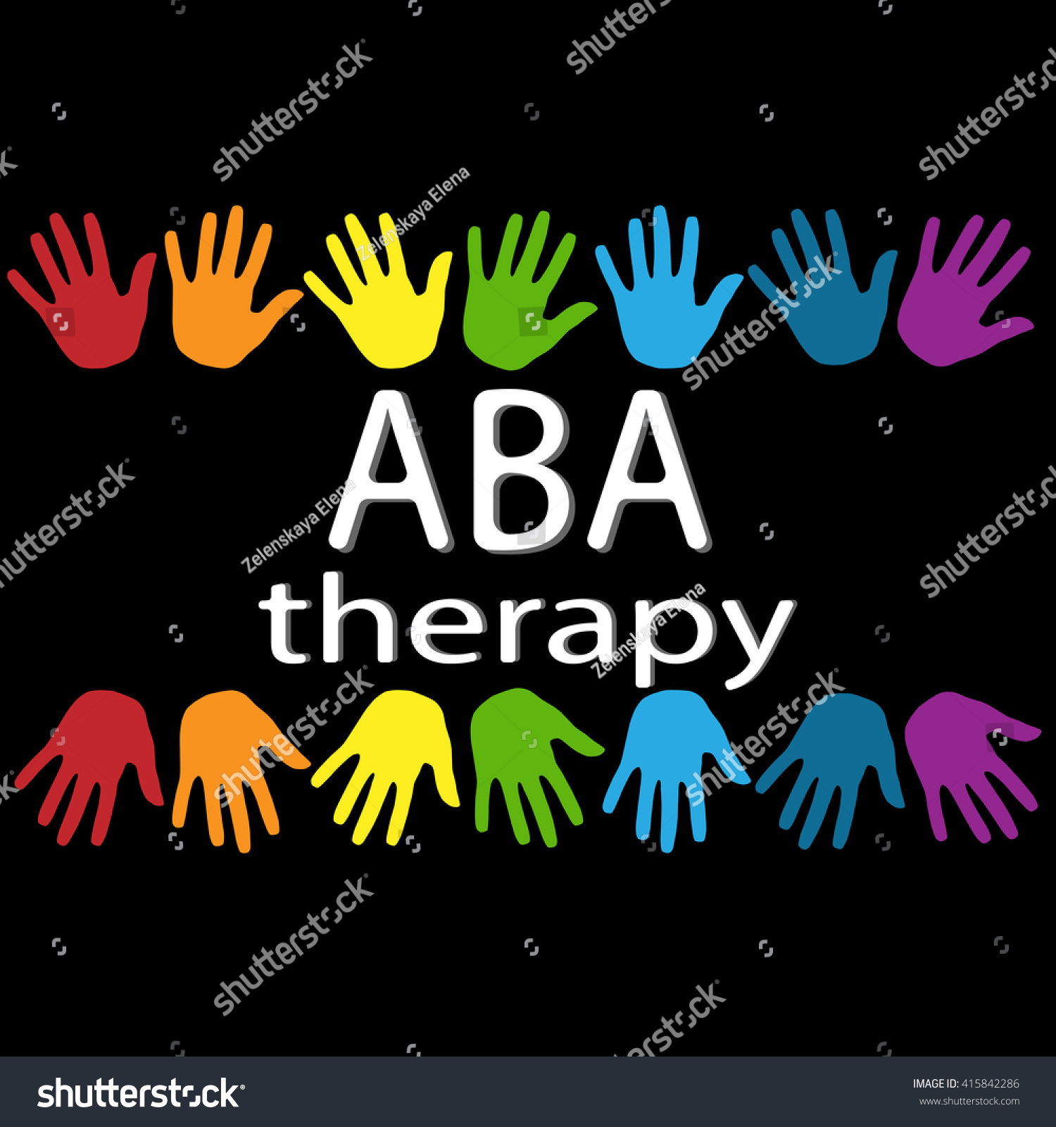 Aba Therapy White Letters Colorful Palm Stock Vector