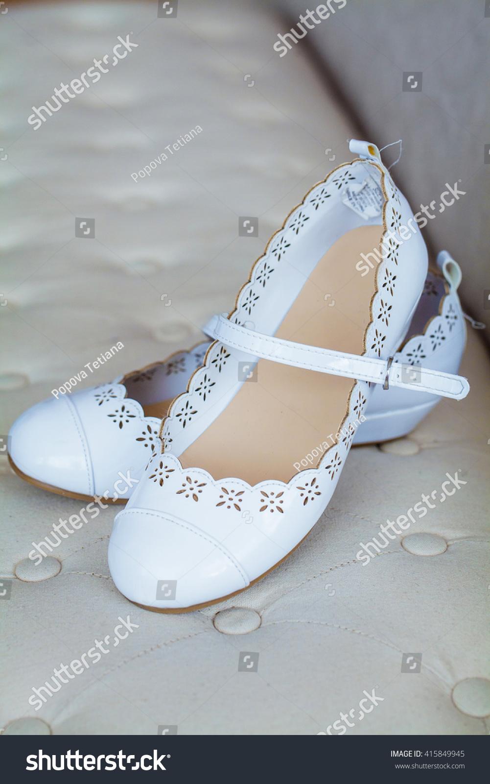 Beautiful Comfortable Womens White Ballet Flats Stock Photo ...