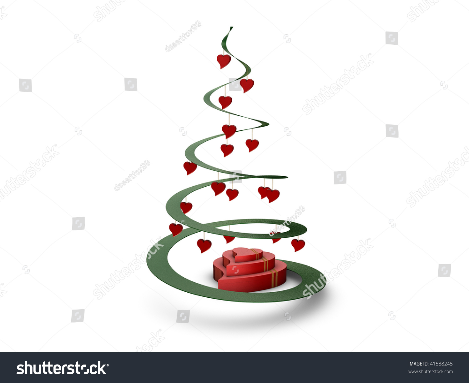 Christmas Tree With Hearts And Gifts Stock Photo 41588245