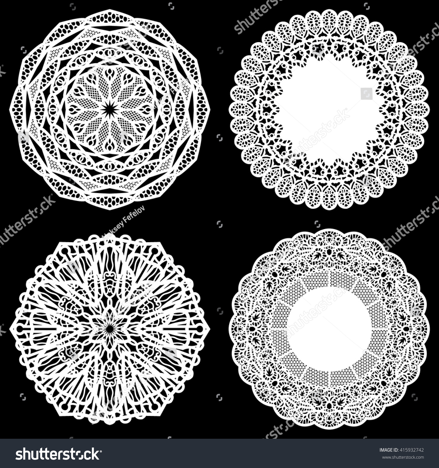 Set of design elements lace round paper doily paper snowflake greeting element package template for cutting vector illustrations