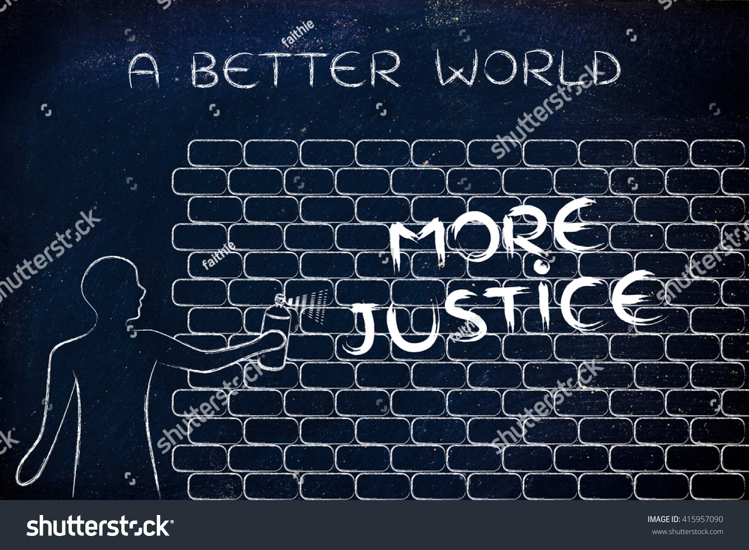 Person spray paint writing word more stock illustration 415957090 person with spray paint writing the word more justice as wall graffiti a better world ccuart Image collections