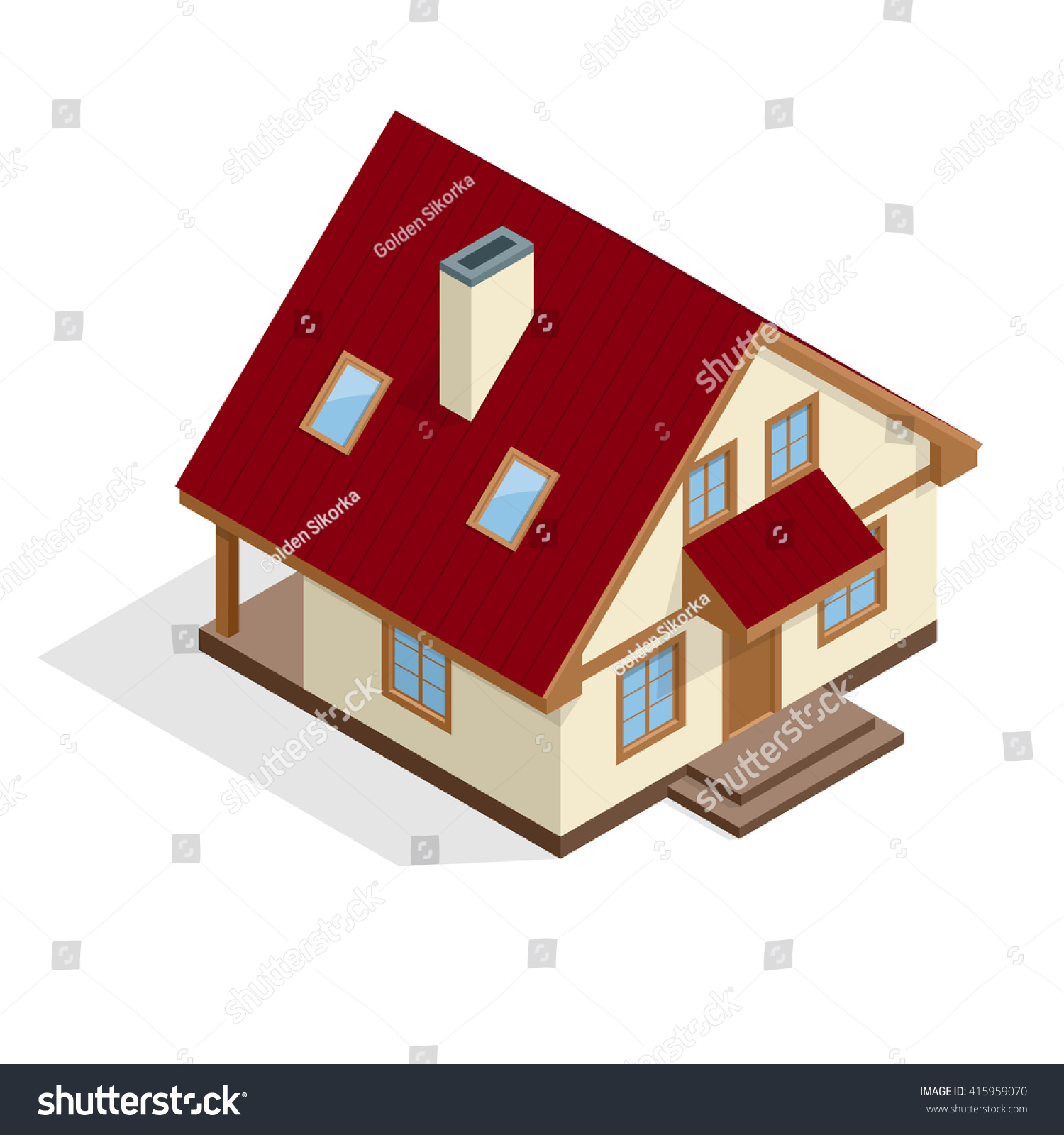 Isometric 3d house icon townhouse village stock vector for Realistic house design games