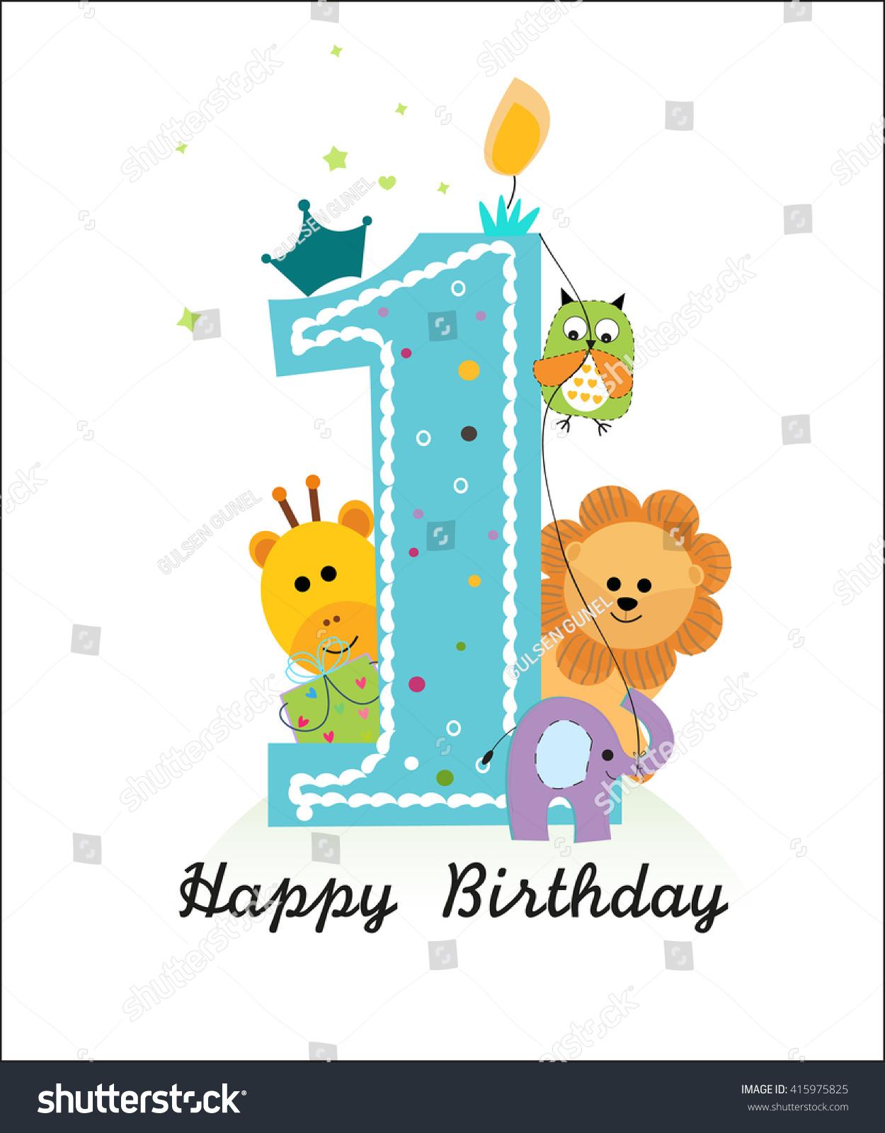 Happy First Birthday Animals Baby Boy Stock Vector