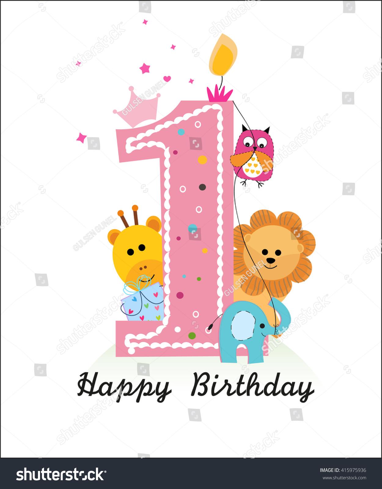 Happy First Birthday Animals Baby Girl Stock Vector 415975936