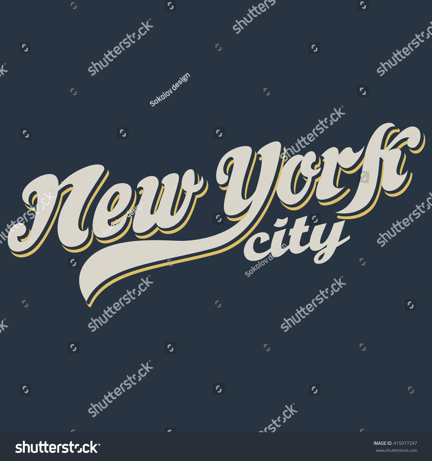 f983837c Vintage New York calligraphic handwritten t-shirt apparel fashion design  print with distressed and textured look. - Vector
