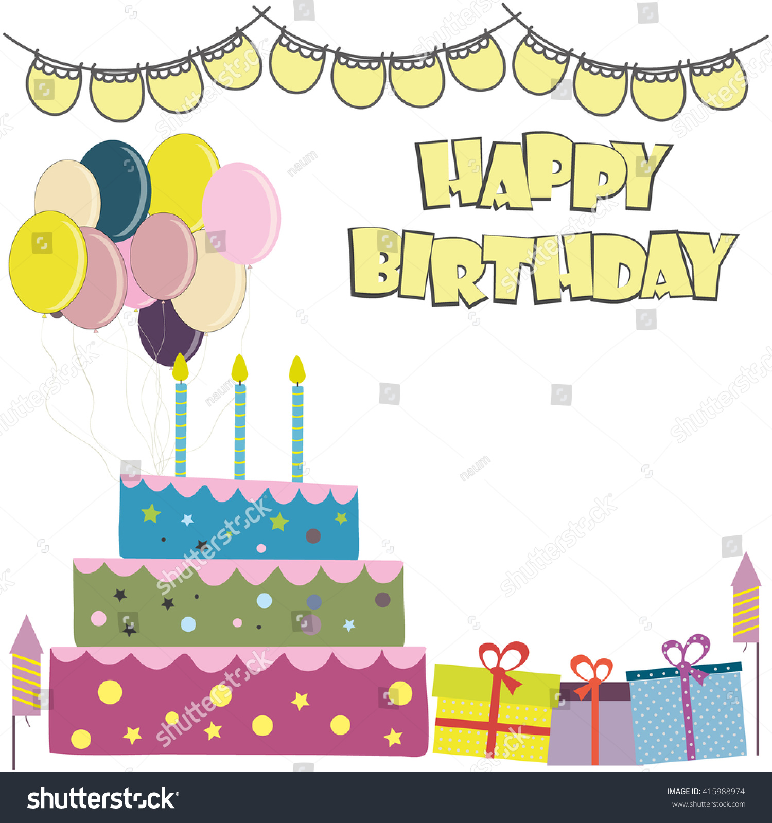 Happy Birthday Card Birthday Cakeplace Text Stock Vector 415988974