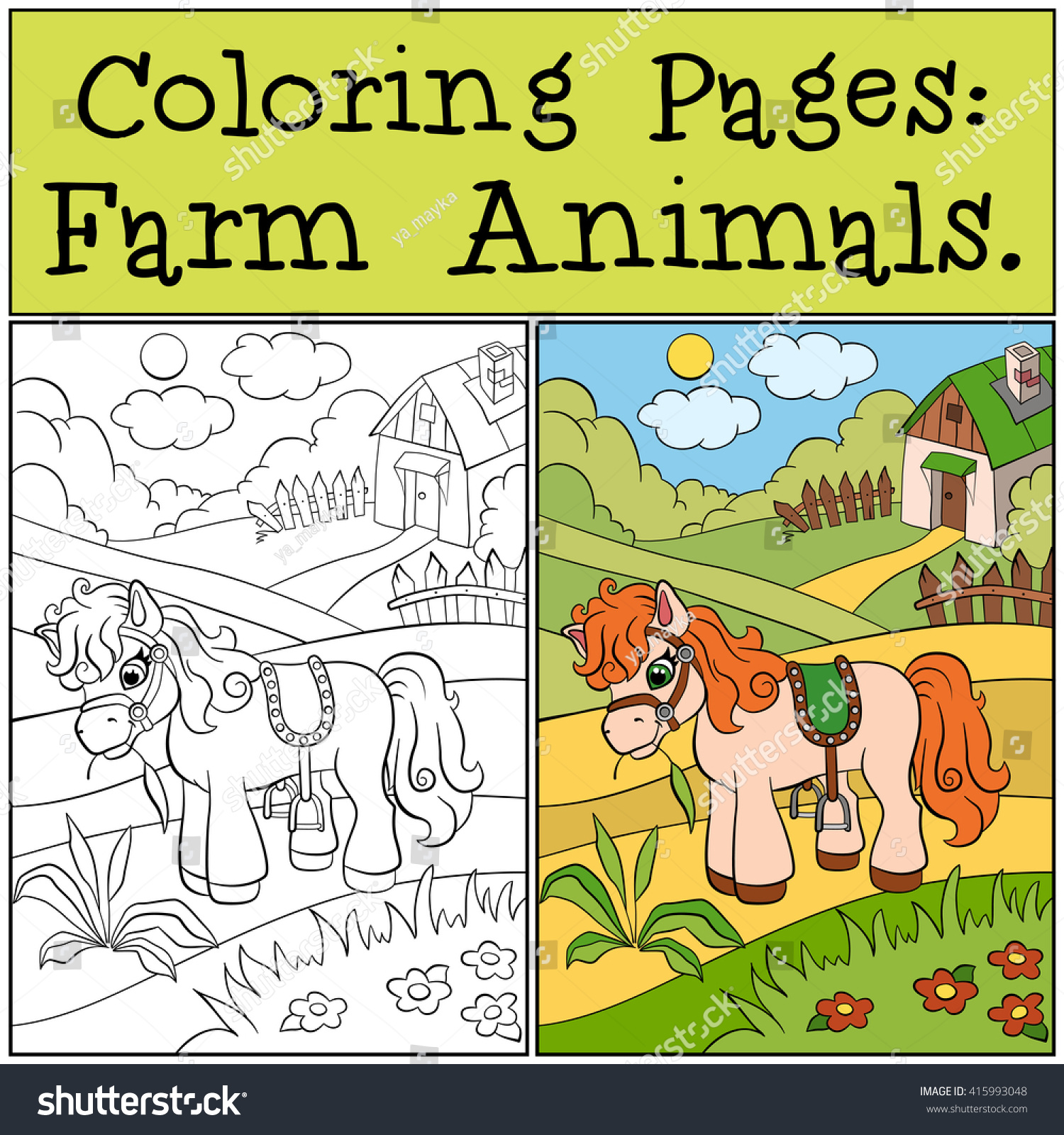 Coloring Pages Farm Animals Little Cute Stock Vector 415993048 ...