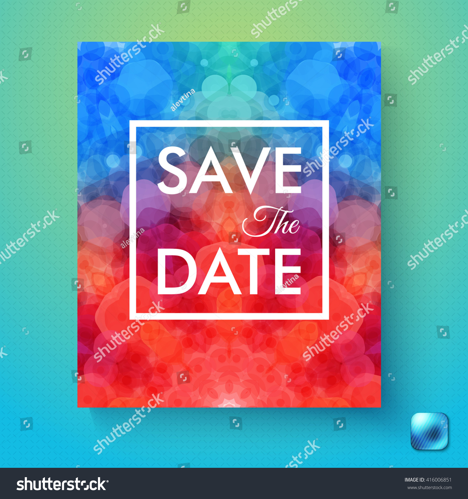 Colorful Abstract Save Date Wedding Invitation Stock Vector (Royalty ...