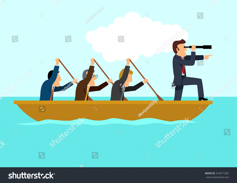simple cartoon businessmen rowing boat teamwork stock vector