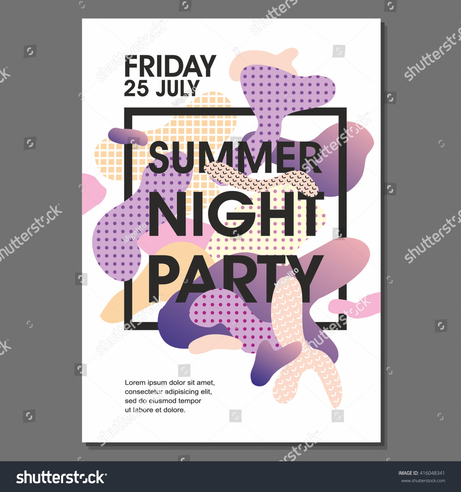 Summer Night Party Vector Flyer Template Stock Vector Royalty Free