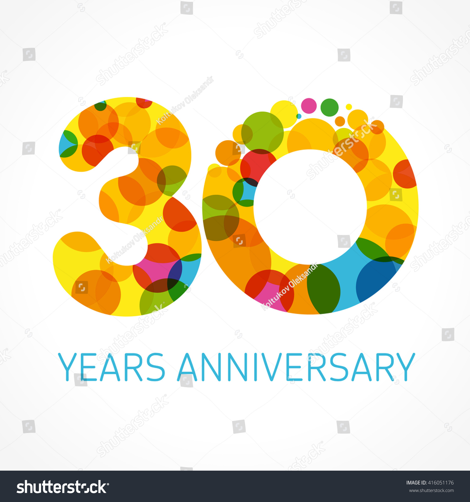 Template logo 30th anniversary circle form stock vector 416051176 shutterstock - Color of th anniversary ...