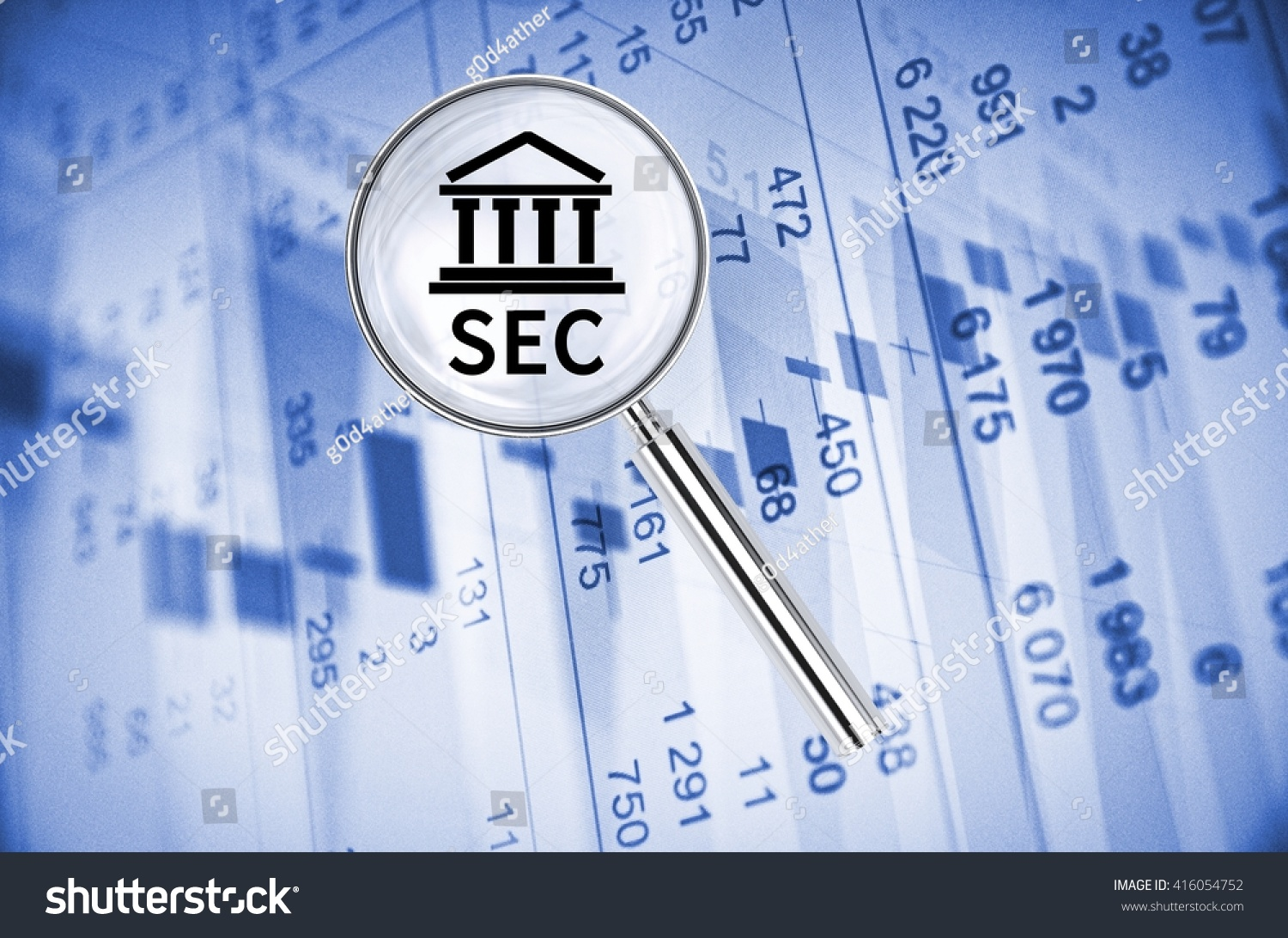 Magnifying lens over background building icon stock illustration magnifying lens over background with building icon and text sec with the financial data visible biocorpaavc