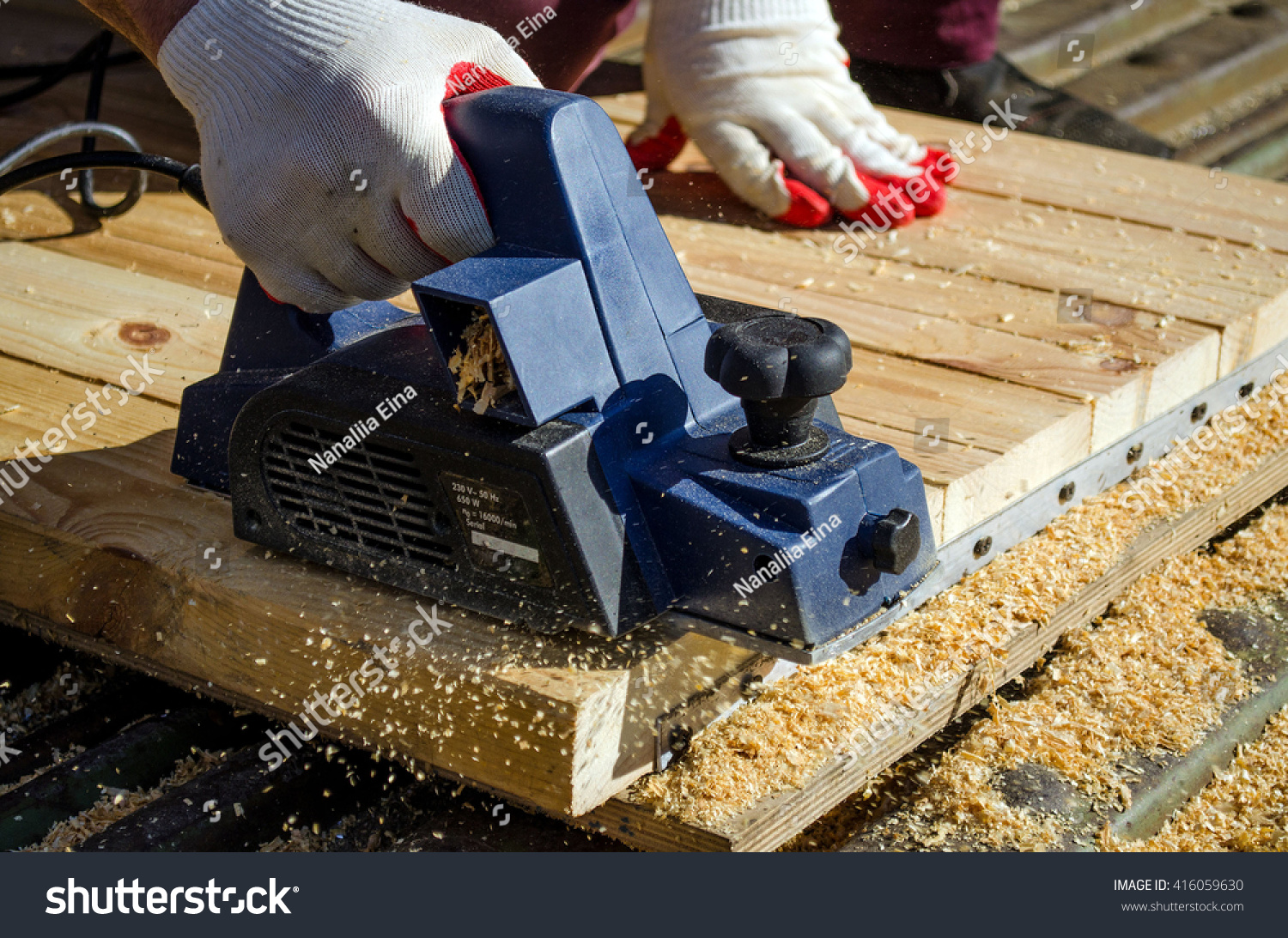 Hand Man Working Electric Planer Planed Stock Photo Edit Now What Does An Do The Of A With And Boards