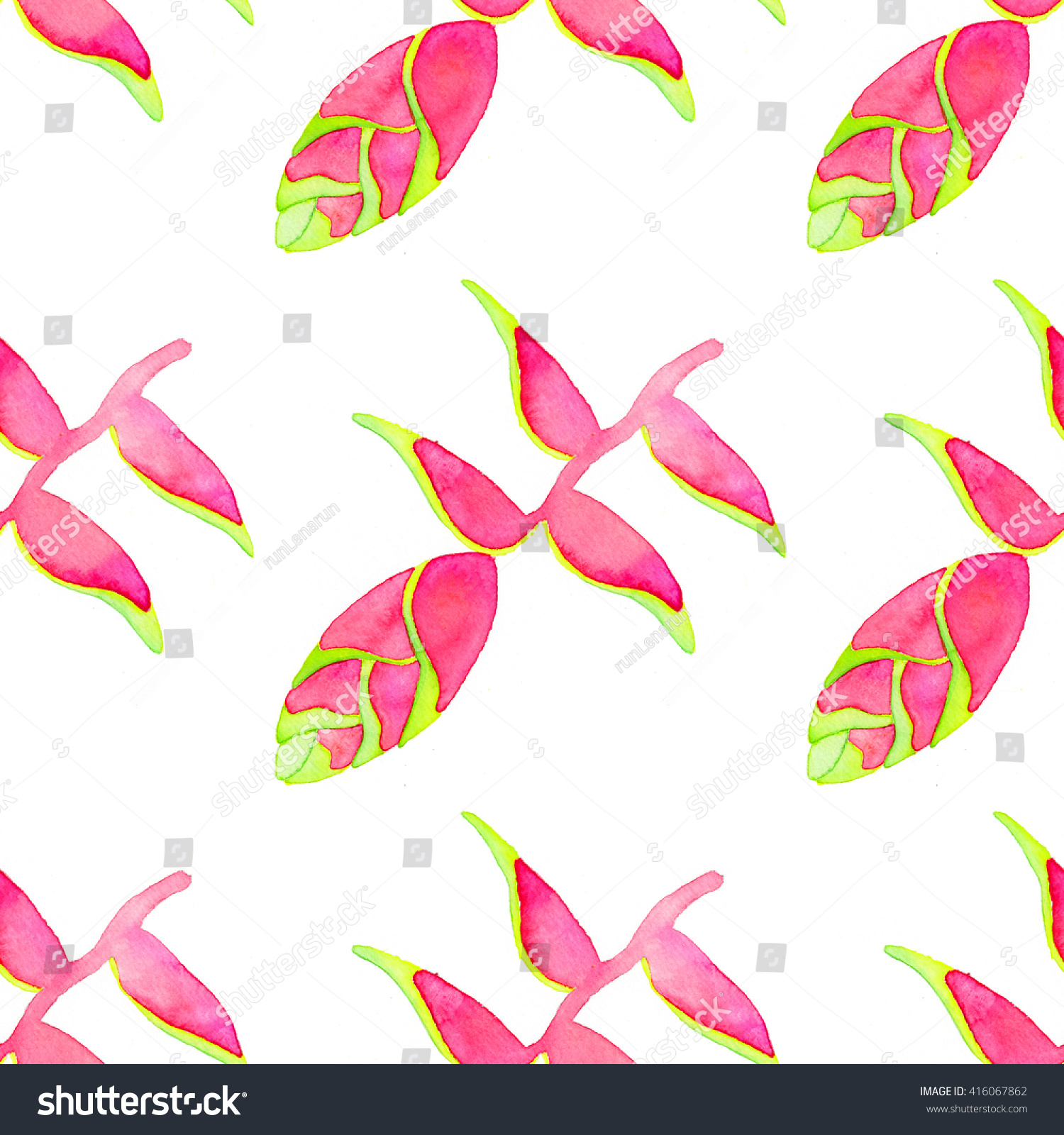 topical heliconia flower seamless pattern handdrawn stock