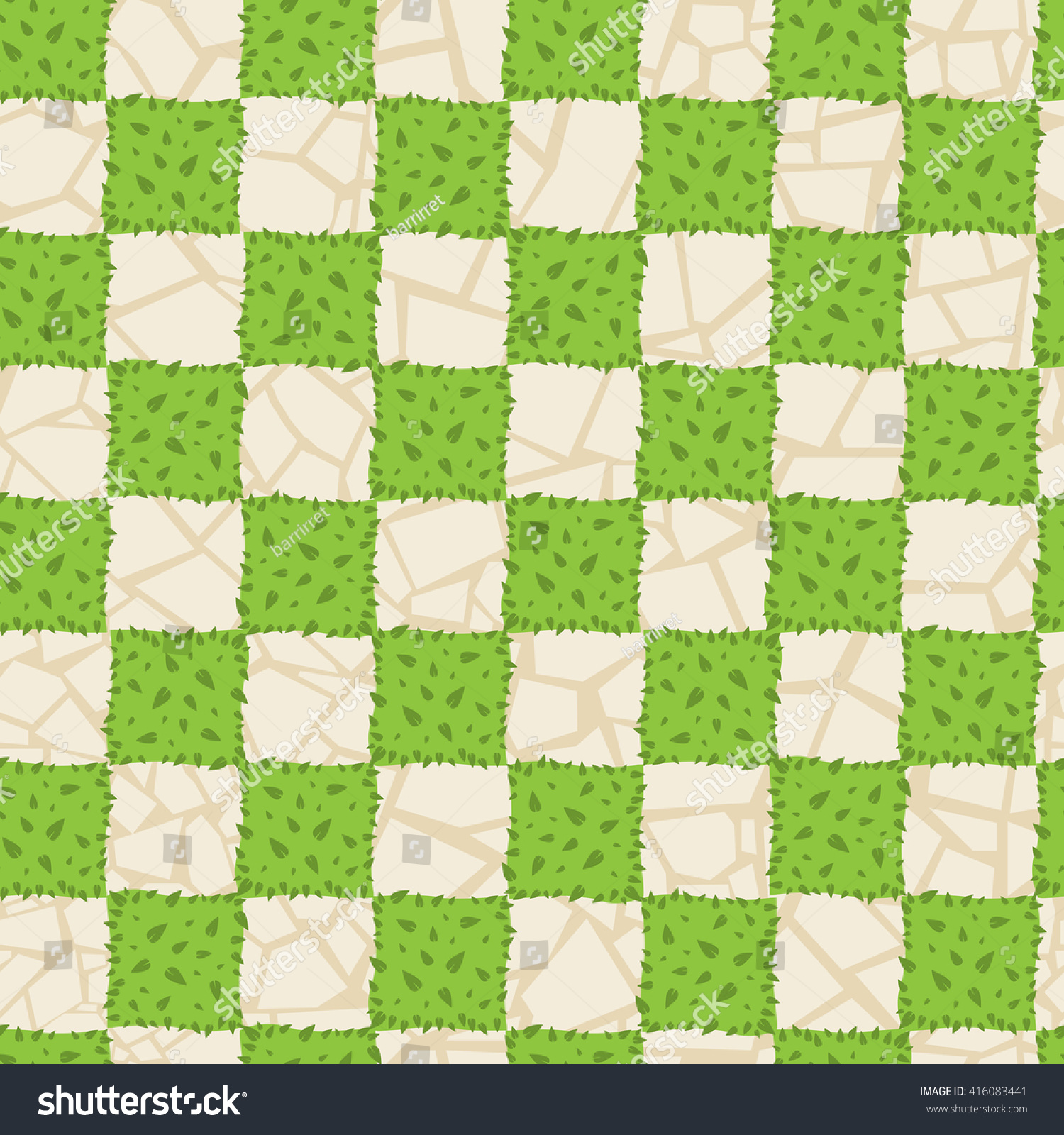 seamless grass texture game. Vector Seamless Pattern With Stone And Grass, Bush. Abstract Chess Pattern. Beige Grass Texture Game