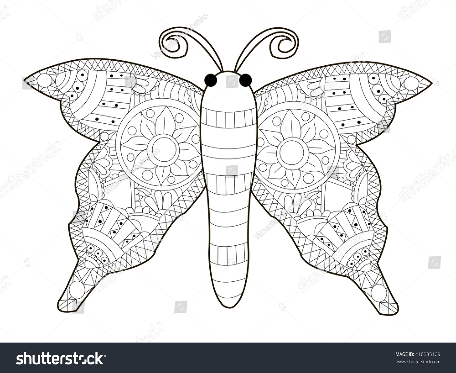 Butterfly Coloring Book For Adults Vector Illustration Anti Stress Adult Zentangle