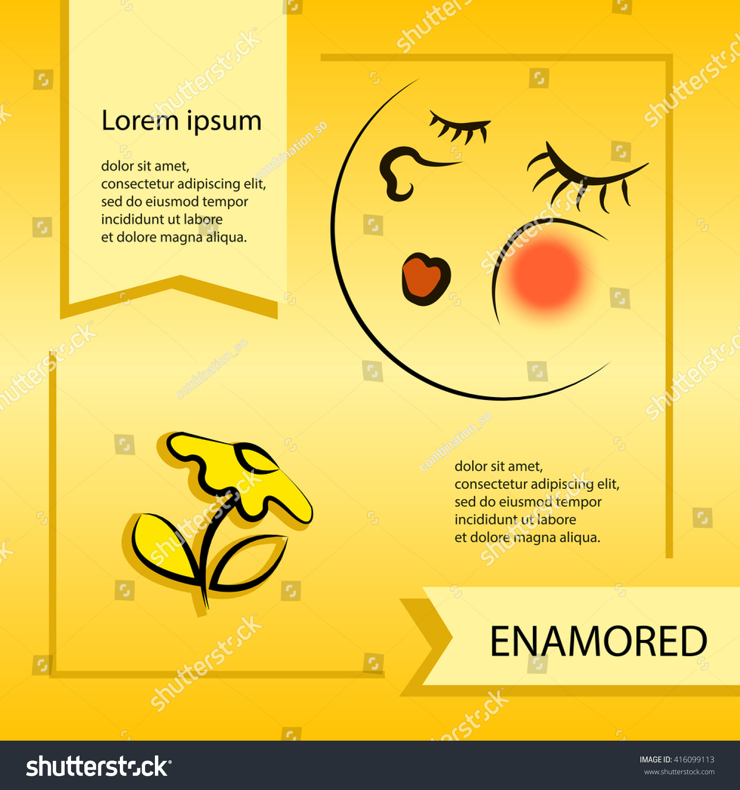 Vector Cartoon Smiley Face Emoticon Enamored Stock Vector 416099113