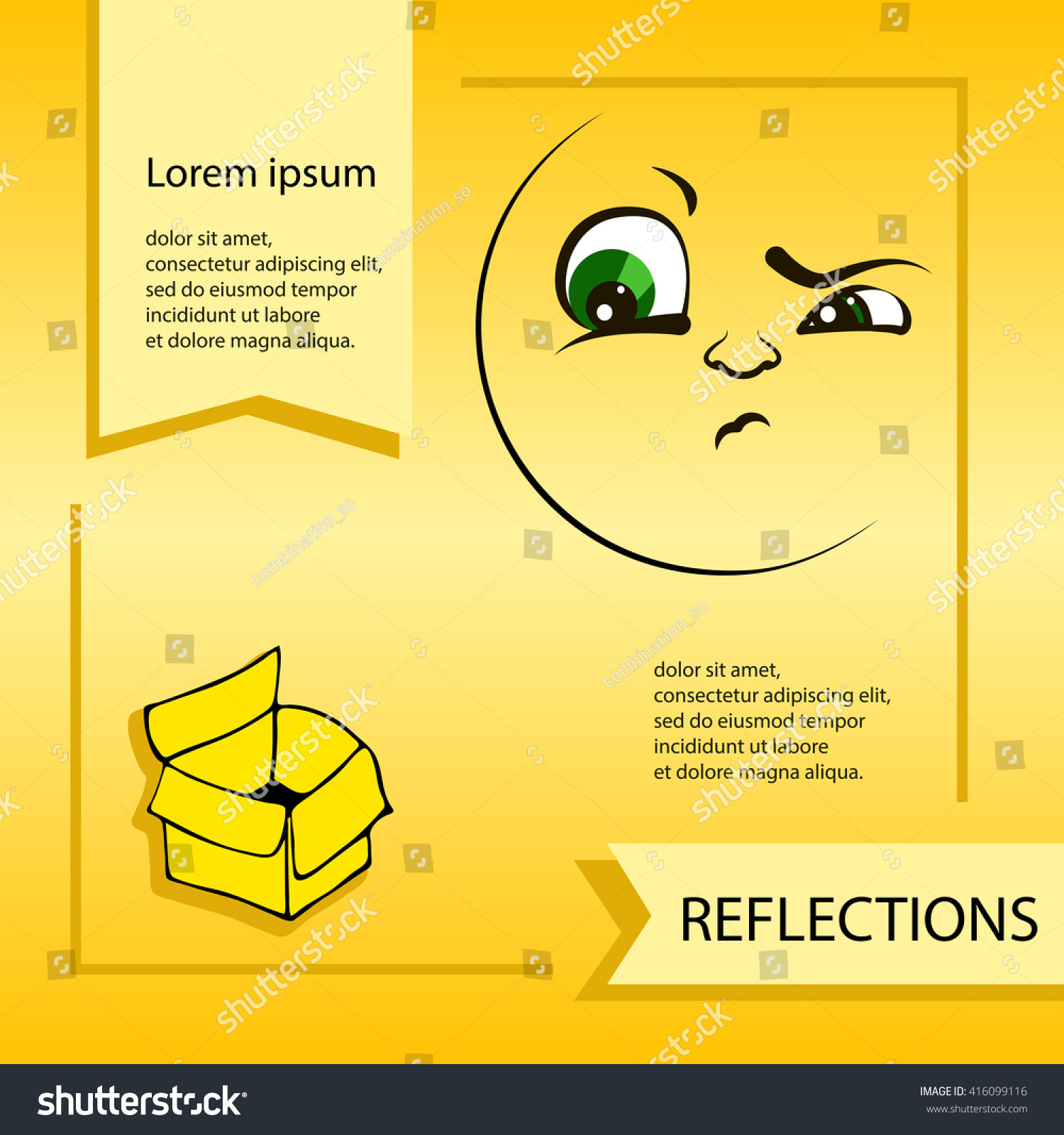 Vector cartoon smiley face emoticon reflections stock vector vector cartoon smiley face emoticon reflections template for advertising brochure ready for your biocorpaavc