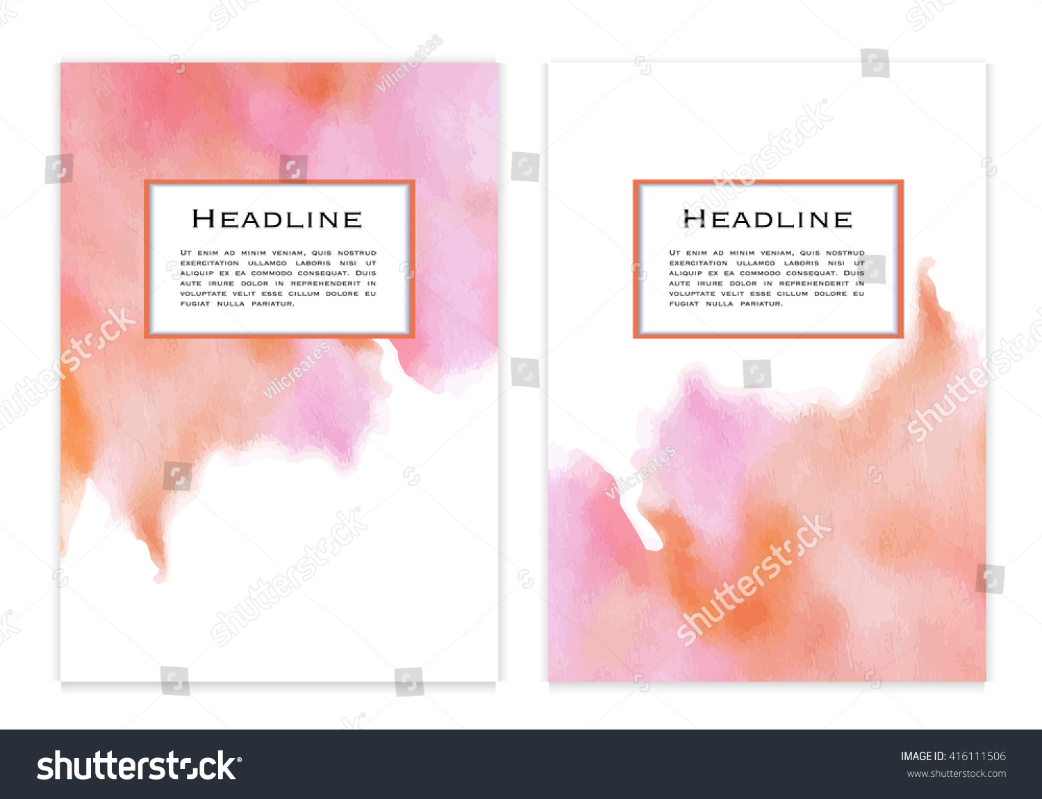 Watercolor book covers - A4 Size Flyers Vouchers Posters Annual Report Or Book Covers With Watercolor Background