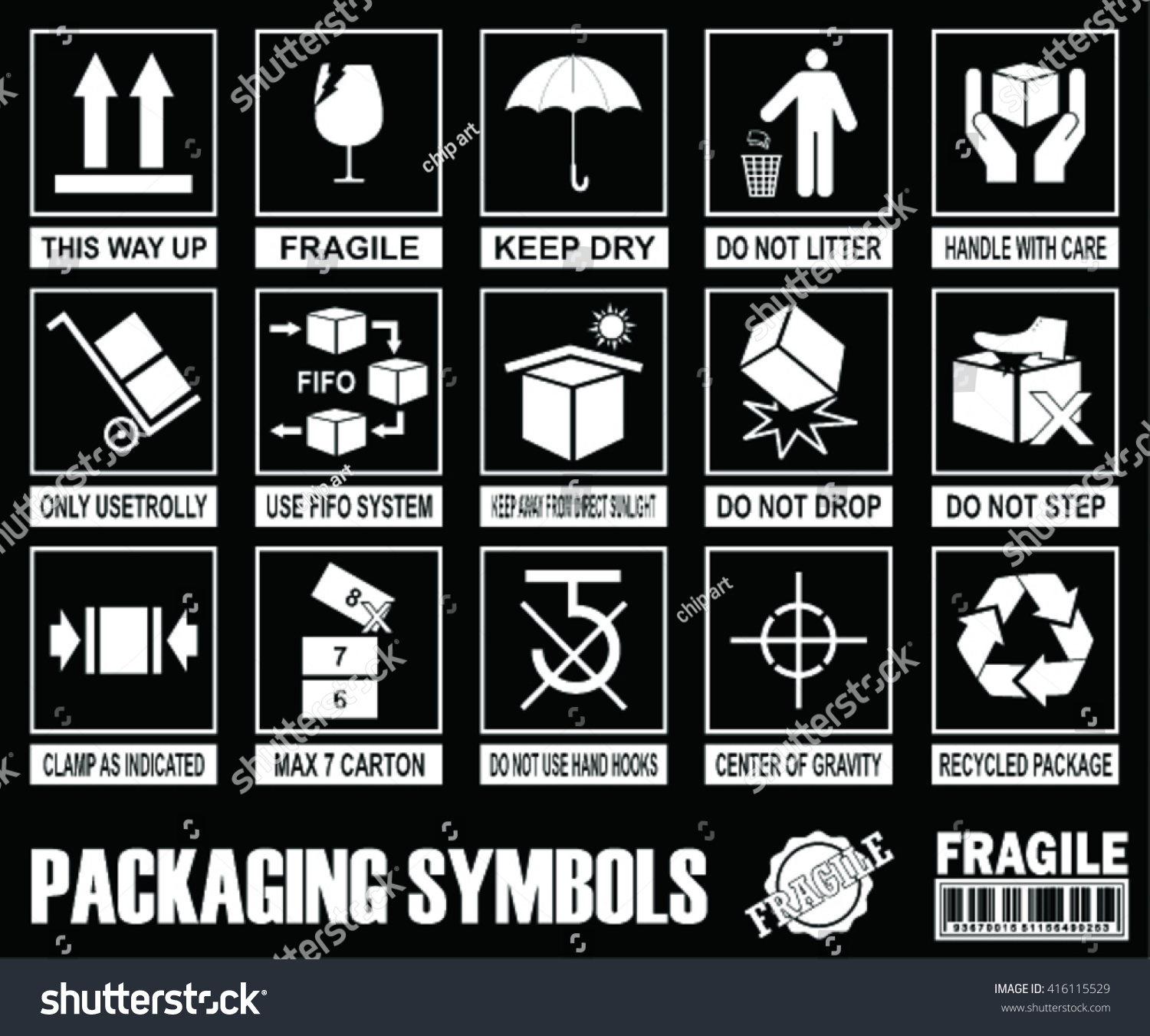 Set packaging symbols on black background stock vector 416115529 set of packaging symbols on black background biocorpaavc Gallery