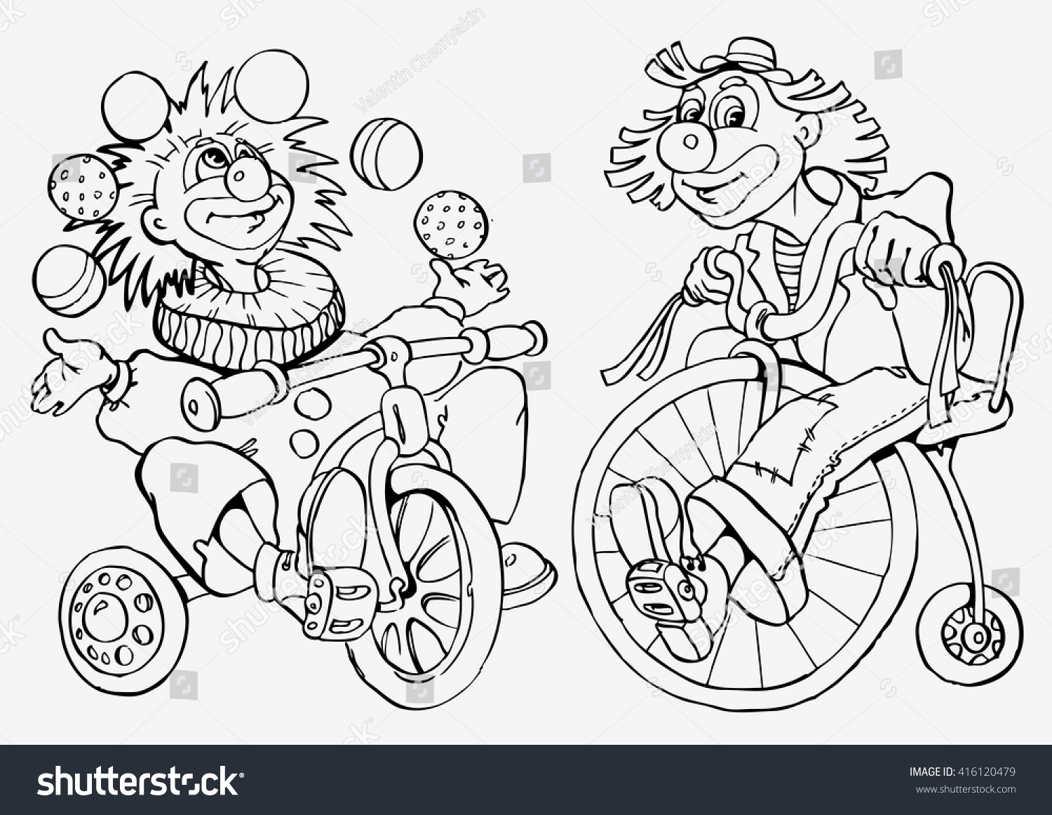 Two Clowns Two Cheerful Circus Clown Stock Vector 416120479 ...