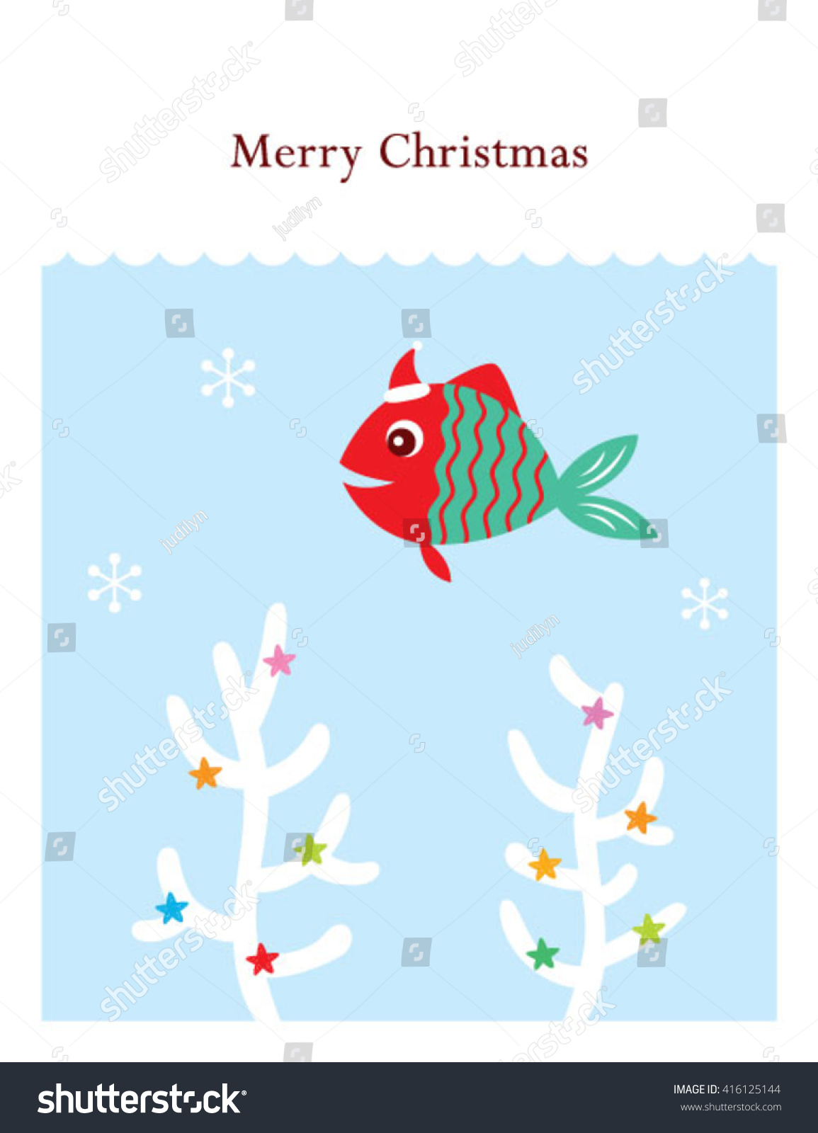 Merry christmas fish vector illustration reef stock vector for Christmas fish starters