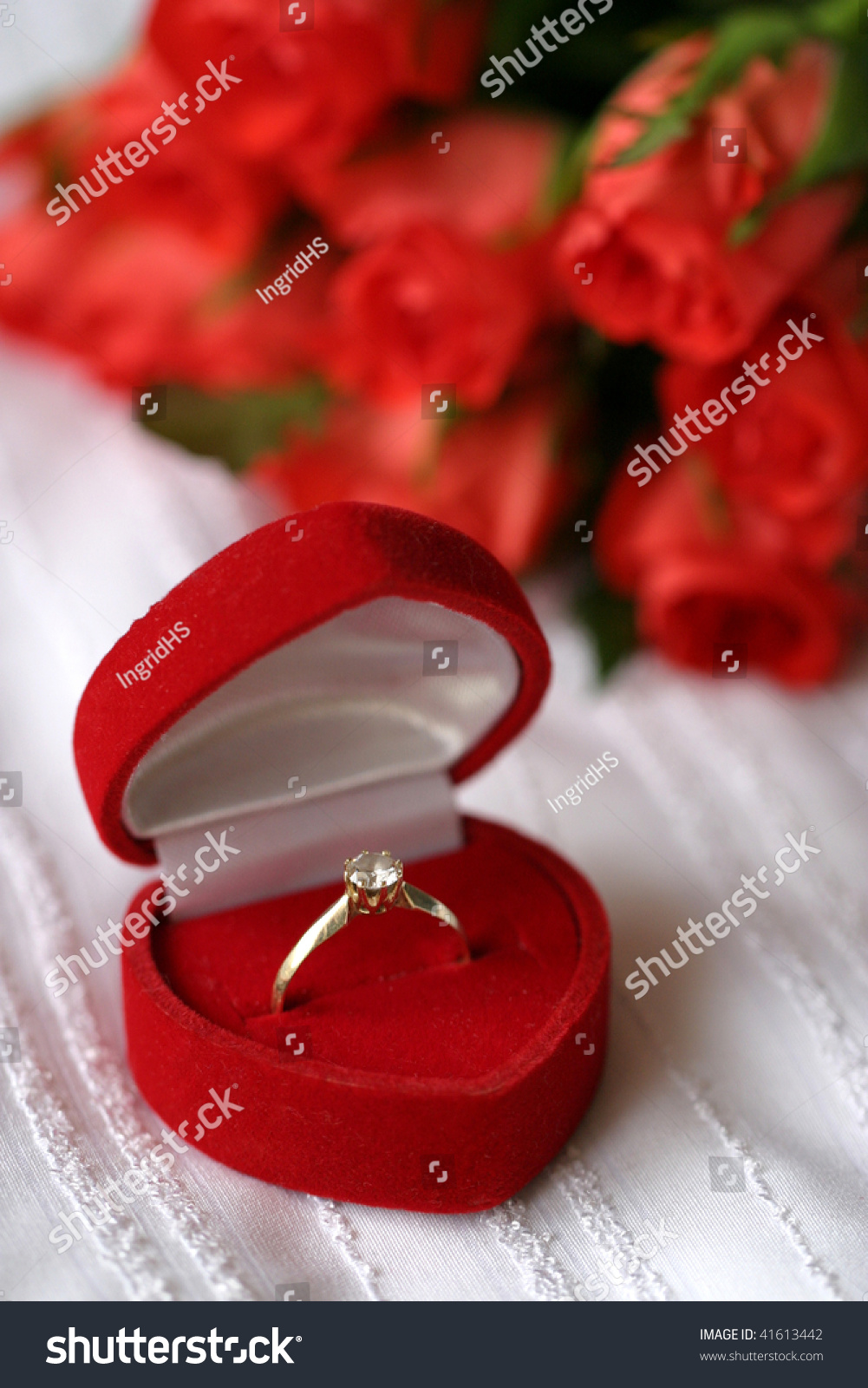 Golden engagement ring heart shaped box stock photo for Heart shaped engagement ring box