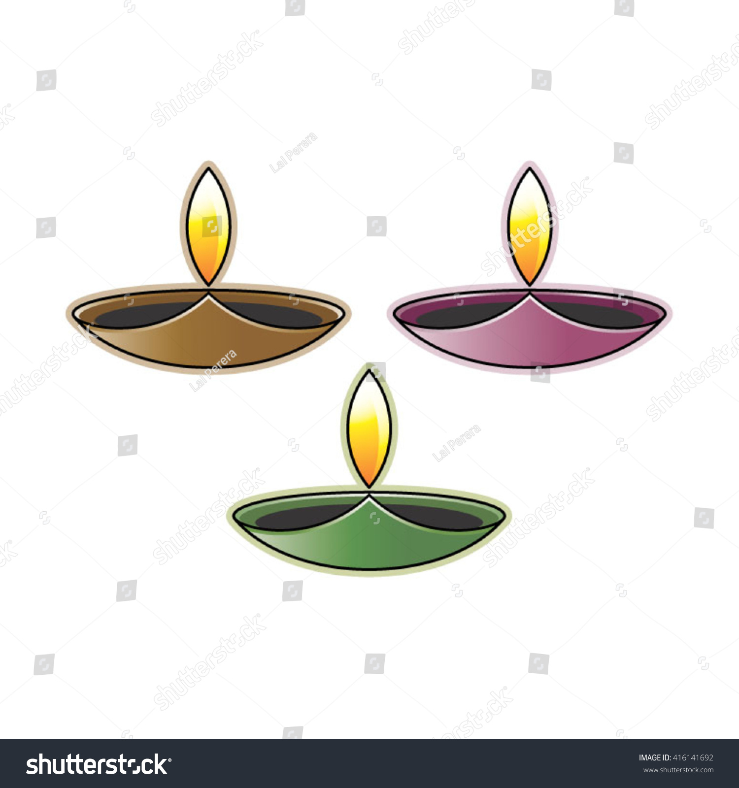 Oil Lamp Three Color Variations Vector Stock Vector 416141692 ... for Drawing Oil Lamp  183qdu