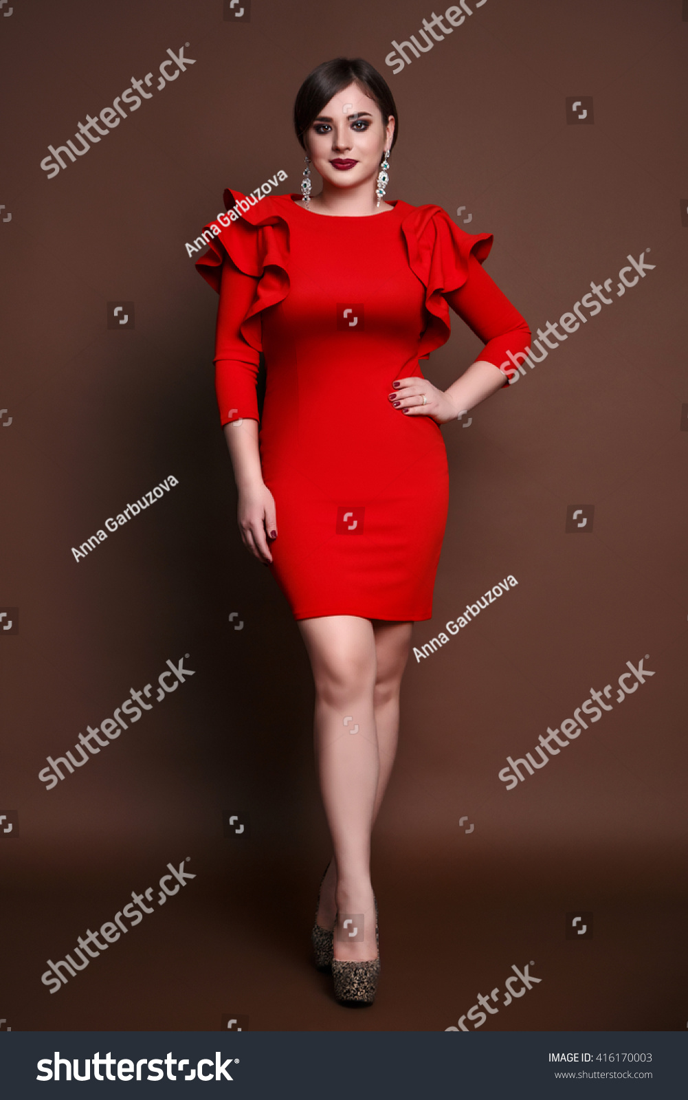 Young Beautiful Brunette Girl Red Cocktail Stock Photo (Royalty Free ...