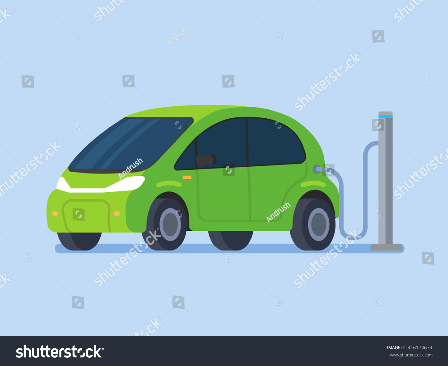 Electric car charging Vector flat design illustration
