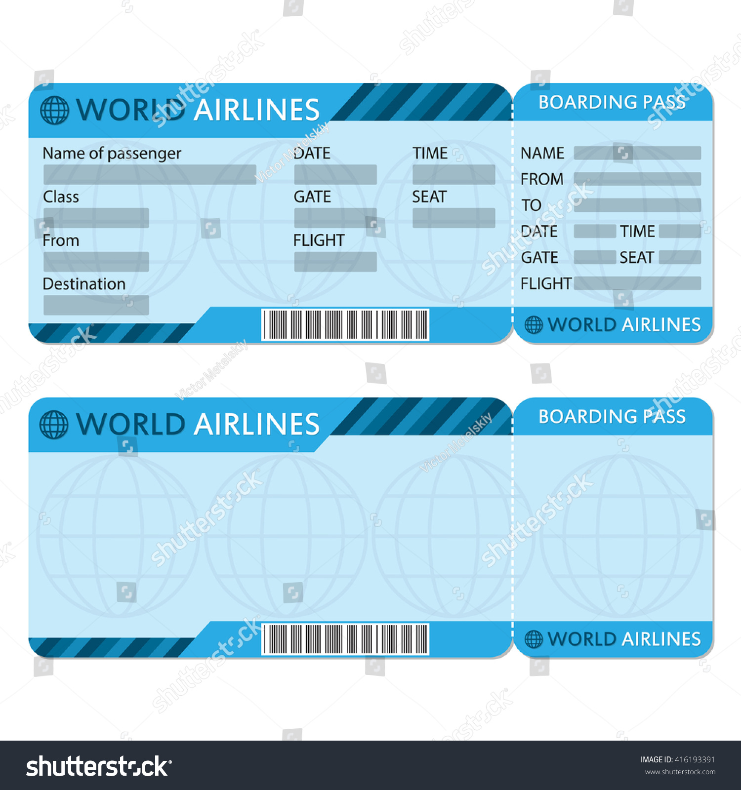 Airline Or Plane Ticket Template. Boarding Pass Blank And Airplane Ticket.  Airline Ticket Template Free