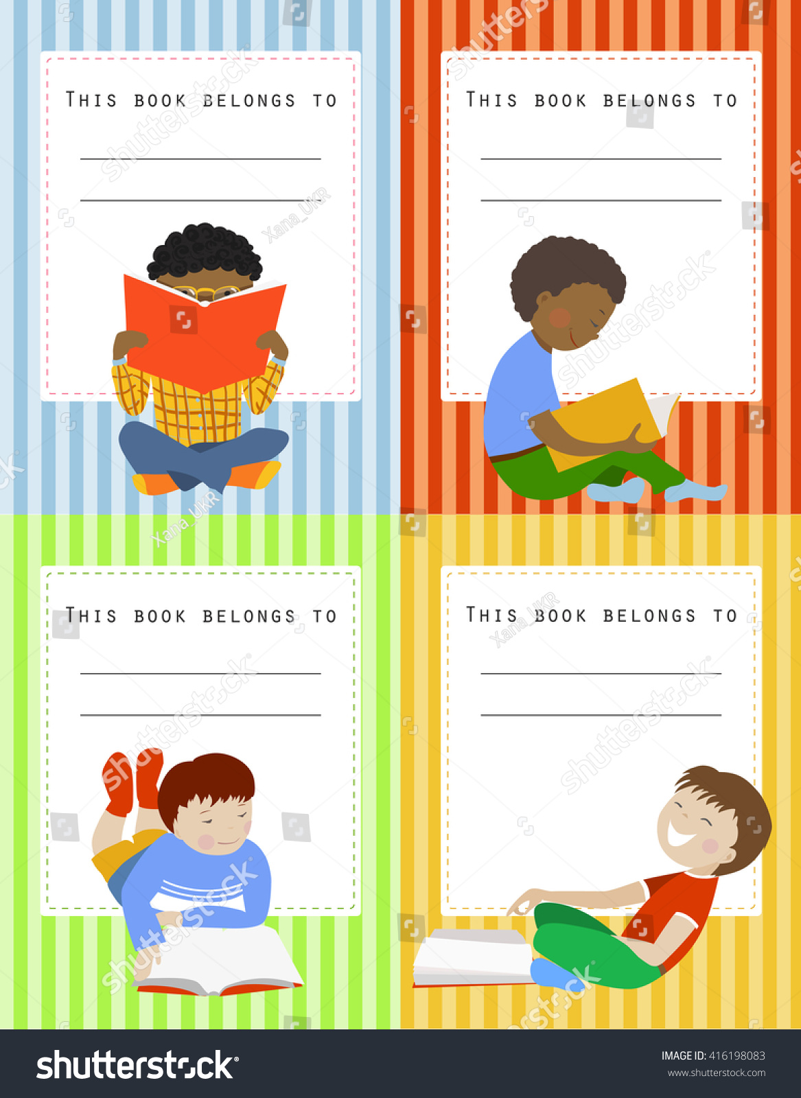 vector set book labels boys this stock vector (royalty free