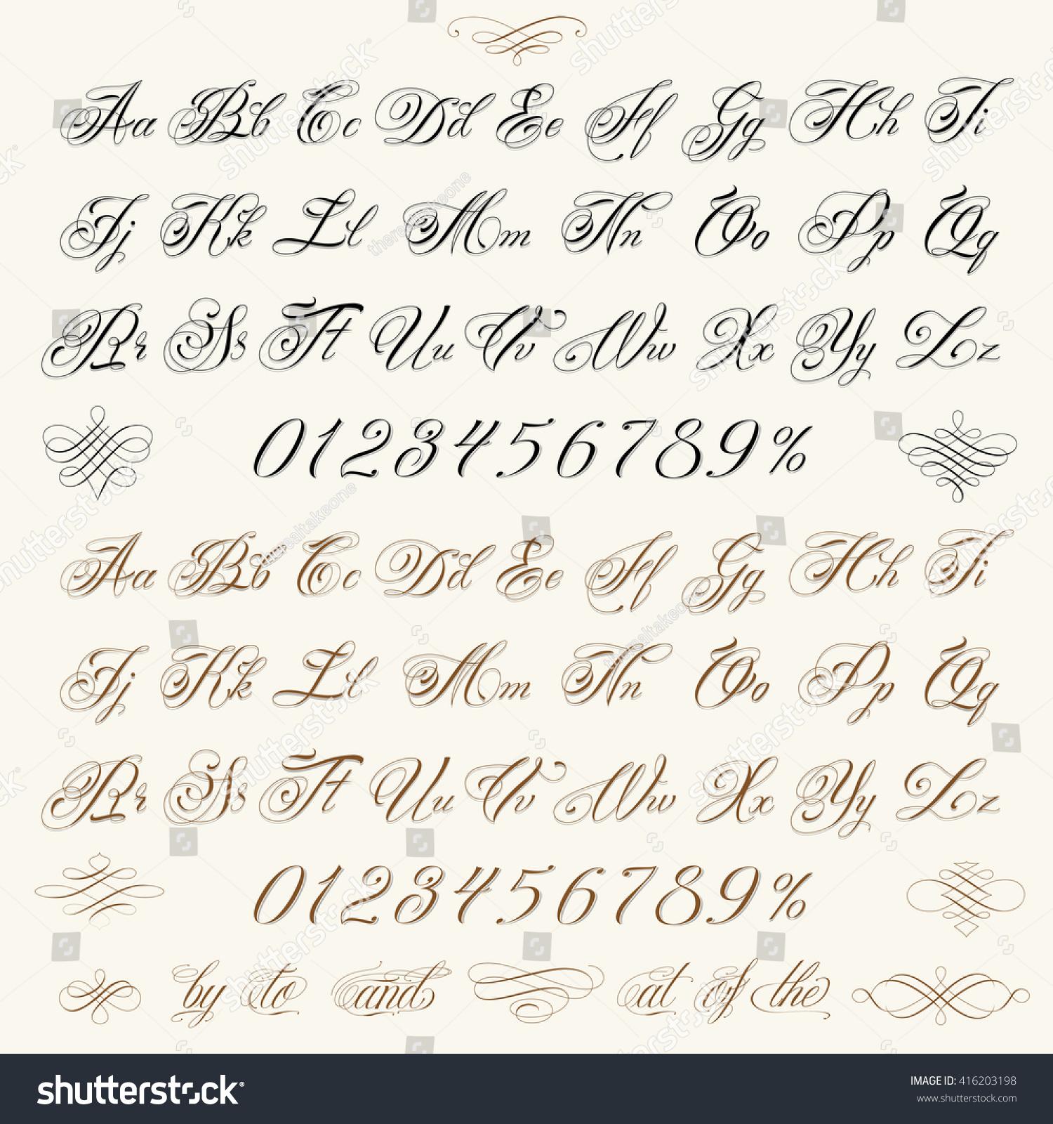Handmade vector calligraphy tattoo alphabet numbers stock