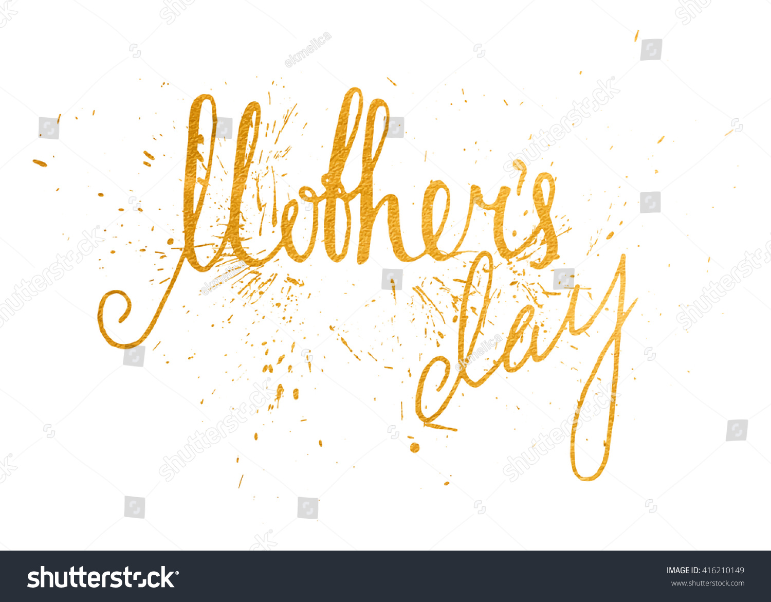 Gold Textured Mothers Day Handwriting Inscription Stock