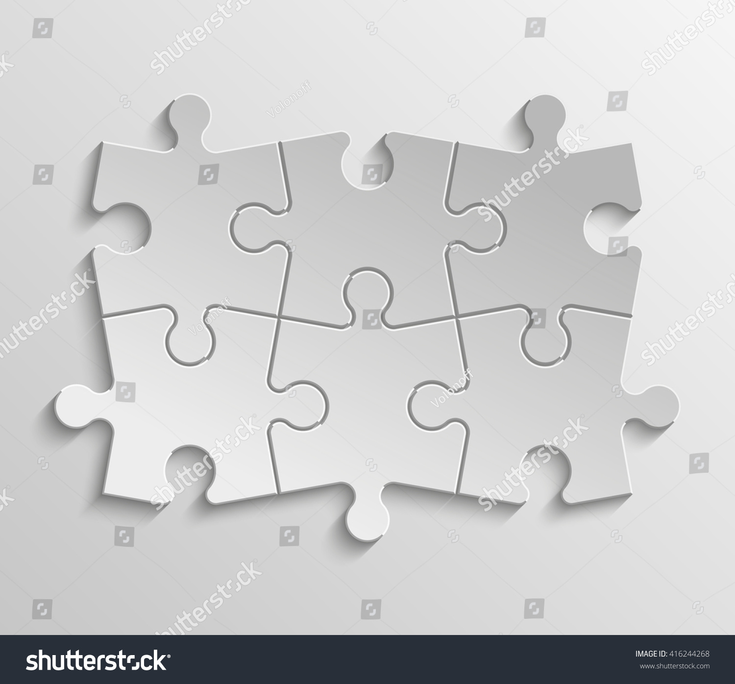 Six Piece Flat Puzzle Round Infographic Stock Vector (Royalty Free ...