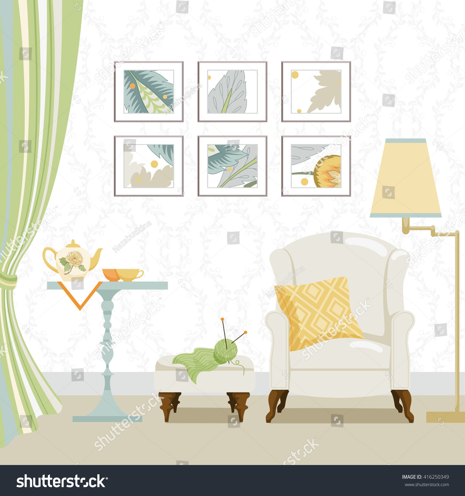 Background Living Room Objects Room Classic Stock Vector 416250349 ...